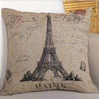 Quality Linen/Cotton Throw Pillow Cover Eiffel Tower Pattern Pillowcase Cushion Cover Home Decor