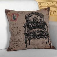 Quality Linen/Cotton Throw Pillow Cover Chair Pattern Pillowcase Cushion Cover Home Decor