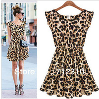 Hot Sell 2014 New Fashion Womens dress Leopard Print Casual Sundress Sexy Ladies Dress Short Sleeveless Quality brand  WD65
