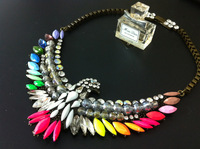 Shourouk necklace eagle crystal multicolour gem rhinestone necklace female fashion short design fashion accessories
