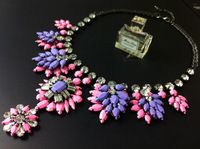 For nec  klace fashion shou ouk pink lilac two-color flower gem crystal necklace accessories for women