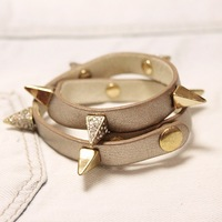 Beige leather rivet full rhinestone bracelet
