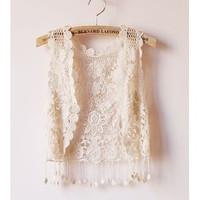 Fashion Girl Lady Crochet Tassel Shrug Top Gilet Vest Waistcoat Cardigan Free shipping