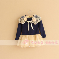 Wholesale kid's floral dress girls princess gauze dress longsleeve one-piece 2 colour girls clothing for autumn and winter