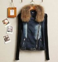 Free Shipping WINTER Denim Clothings Patchwork Outwear short Jeans fur Coat Classical Women Fashion Jean Jacket S M L