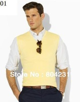 2014 polo man's sweater vest sleeveless design free shipping man V neck sweaters with tags xxxl avaible