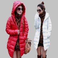 Winter women's  elegant slim medium-long PU solid color hooded down cotton wadded jacket cotton-padded jacket