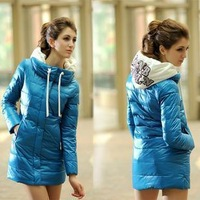 2012 winter down cotton-padded jacket wadded jacket women's medium-long slim fashion thickening