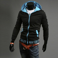 2013 autumn male color block print sweatshirt with a hood elegant fashion sweatshirt plus velvet zipper slim cardigan