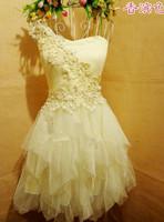 Free fast shipping high waist free size short design princess bridesmaid dress mini  formal dress bridal dress 2 colors