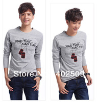 2013 New Cotton Full sleeve,long sleeve O-Neck Men tops Tees high quality t shirts White/Black/Grey M,L,XL,XXL optional 10%OFF