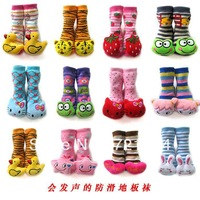 3pair  Child terry socks towel baby cartoon  glue slip-resistant doll bell baby leg warmers
