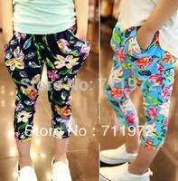 Children's Pants Girls big Flower Elastic waistband leisure Haroun pants Kids Leggings ninth pants