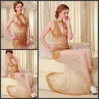 Ultimate luxury crystal formal dress formal dress toast the bride married formal dress evening dress xj697