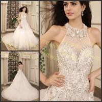 2013 sparkling sexy wedding dress bandage tube top train wedding dress bride xj76