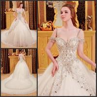 2013 sparkling sexy wedding dress bandage tube top train wedding dress bride xj78