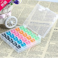 Hot Free shipping 25PCS/set Sewing Machine Bobbins Spool Plastic Case For Brother Janome Singer Elna