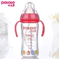 Small potatoes baby bottle wide-mouth glass bottle with handle straw large glass bottle anti-flatulence bottle