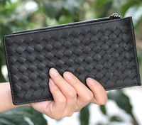 Seven color long zipper hasp weave/knit  large capacity clutch wallet purse/clips for women girls female card bag hot selling
