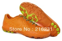 2013 1pair fee ship New arrive soccer shoes indoor grass nail Finale soccer boots football shoes cleats orange green size 39-45