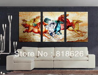 3 Panels Huge Colorful Horse Abstract Painting on Canvas Living Room Home Decoration Wall Picture Art Pt730