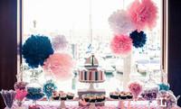 "20cm(8"") paper flowers Tissue Paper Pom Poms wedding decoration Craft for Parties 20pcs/lot 13 colors for choose ball flower"