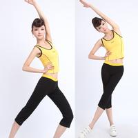 Fitness clothing female aerobics clothes callisthenics set dance performance wear stovepipe knee length trousers vest