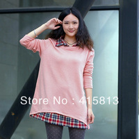 Free shipping 2013 autumn thin sweater patchwork shirt maternity loose top long design basic shirt