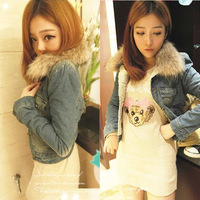 free shipping raccoon fur plus velvet retro finishing slim denim wadded jacket outerwear female 2013
