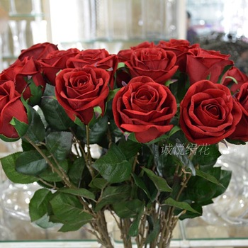 Brief high artificial flower single red rose flannelet material furniture artificial flower dried flowers decoration flower