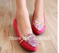 new 2014  Spring And Autumn Sweet Rhinestone Flats Pointed Toe Flat Female Shoes Velvet