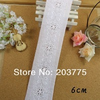 FREE SHIPPING TL032 In 6cm Width White Color Flower Cotton Cloth Lace Embroidery Embroidered Lace Cotton Lace Accessories