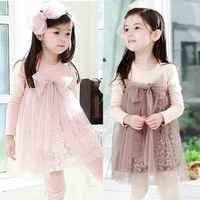 2014 new autumn children clothing child clothes cotton long-sleeve girl dress puff dress princess tulle dresses
