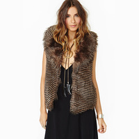 Haoduoyi wave stripe sleeveless turn-down collar fur vest