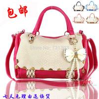 Women's handbag fashion bags color block female crocodile pattern bow handbag messenger bag