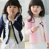 Free Shipping Children's Autumn  baby long-sleeved lace cardigans coat girl's cotton outwear