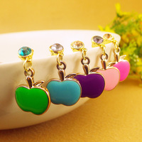 Hot-selling oil small apple Shape rhinestone lovers pendant  Anti Dust Cap Earphone Plug Stopper For Apple iPhone 4 4S