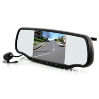 Car Rear View Mirror with Dashcam and Wireless Parking Camera - 5 Inch Screen, GPS, Speed Radar Detector, Bluetooth