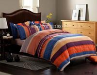 Free Shipping,blue orange purple stripe bed sheets linens 4pcs queen/king comforter bedding sets 100% cotton quilt/duvet covers