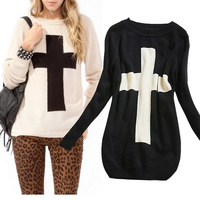 2014 Fashion Women new autumn and winter long-sleeved loose straight round neck Cross Pattern Woollen Sweater Black / White