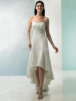 2012 E013 New Arrival Modern Ivory Strapless A-line Hi-lo Wedding dresses/Wedding Gown Short