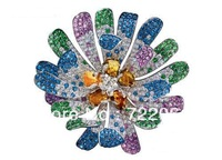 925 sterling silver plated, yao-wei flower brooch with colored stones dress flower pin