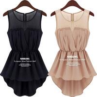 new hot-selling Fashion sleeveless cocktail big size chiffon gauze blouse summer novelty top high street patchwork fall women