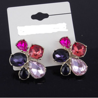 FREE Shipping,multicolor acrylic gem,2013 newest arrival,2 style,stud earrings ES016