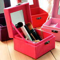 New arrival 2013 Hot sale Jewelry box cosmetic box single tier three layer jewelry box wool princess fashion  Free shipping