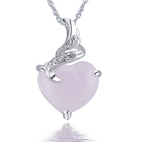 Natural rose quartz love shaped pink crystal pendant 925 pure silver jewelry pink crystal necklace female birthday gift