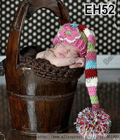 Lovely Wholesale Handmade Baby Pixie Elf Hat in Multi Colors,Newborn Baby Girl Flower Stocking Caps perfect for photo props EH52