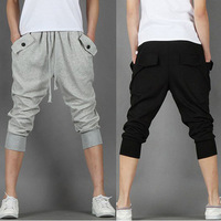 2013 Hot Sale Men's harem pants sports capris breeched casual slim trousers Black/Gray Size M to xxl