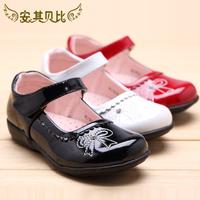 2014 autumn female child leather black shoes princess bow children shoes
