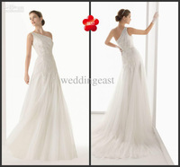 free shipping -fashion and elegant one-shoulder column backless and tulle wedding dresses appliques and floor-length